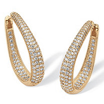 8.10 TCW Cubic Zirconia 14k Yellow Gold-Plated Oval-Shape Inside-Out Huggie Hoop Earrings (1 1/2