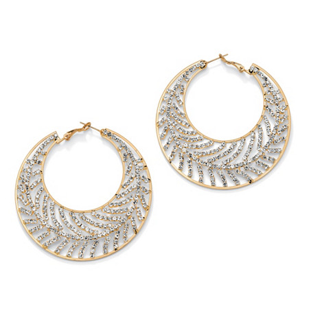 Crystal Leaf Hoop Earrings in Yellow Gold Tone (60mm) at PalmBeach Jewelry