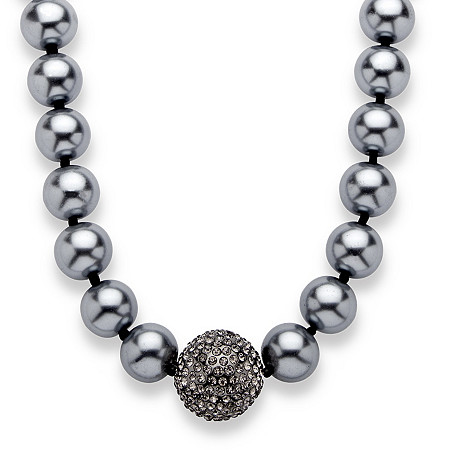 Grey Pearl and Crystal Accent Black Rhodium-Plated Necklace Adjustable 18