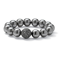 Grey Pearl and Crystal Accent Black Rhodium-Plated Stretch Bracelet 8""