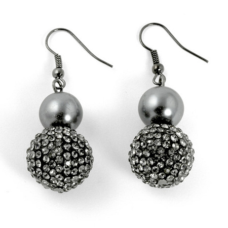 Grey Pearl and Crystal Accent Black Rhodium-Plated Drop Earrings at PalmBeach Jewelry
