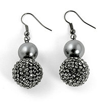 Grey Pearl and Crystal Accent Black Rhodium-Plated Drop Earrings