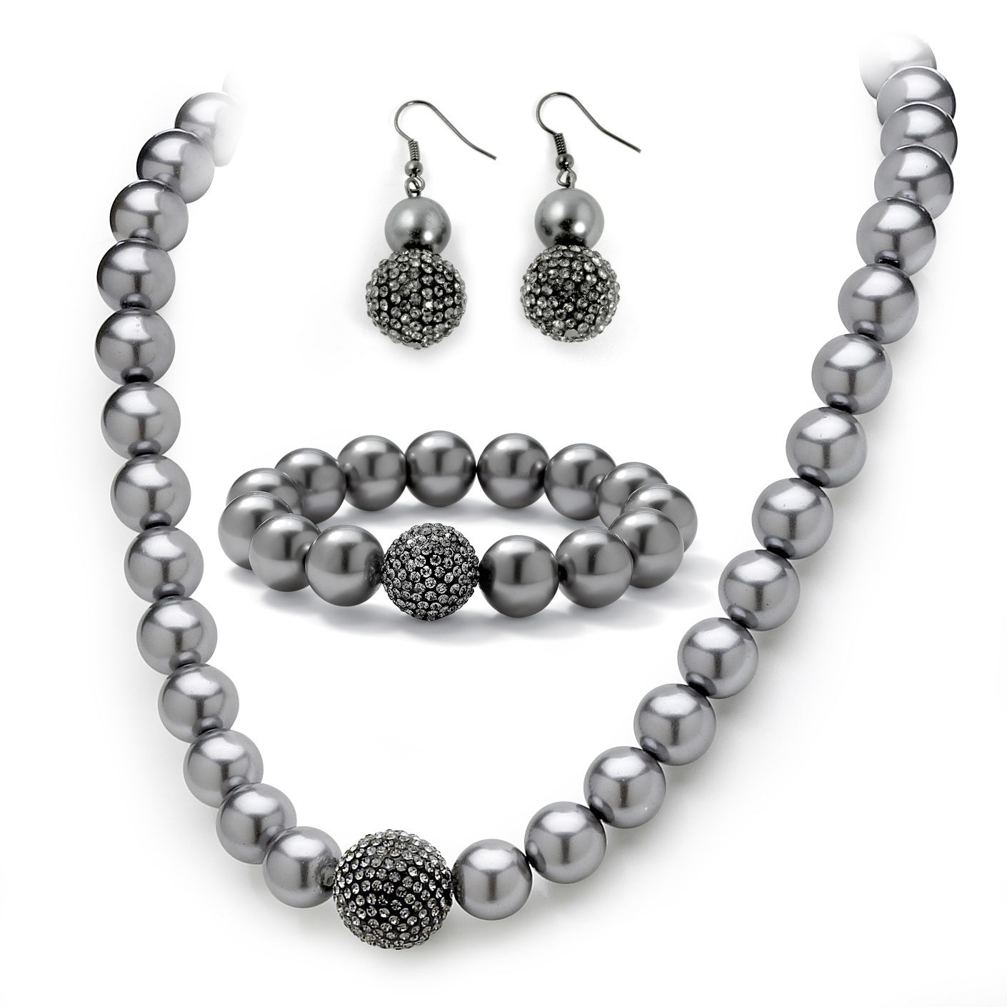 Grey Pearl And Crystal Necklace Bracelet Earrings Three