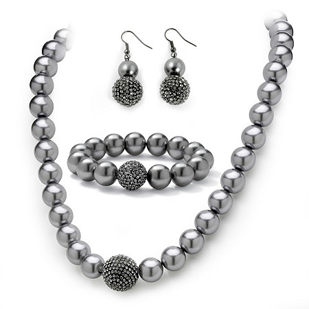 Grey Pearl and Crystal Necklace, Bracelet, Earrings Three-Piece Set in Black Rhodium-Plated at PalmBeach Jewelry