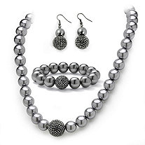 Grey Pearl and Crystal Necklace, Bracelet, Earrings Three-Piece Set in Black Rhodium-Plated