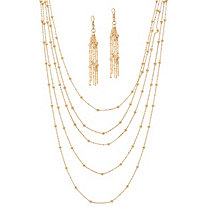 "2 Piece Multi-Chain Beaded Station Necklace and Drop Earrings Set in Yellow Gold Tone 34""-38"""