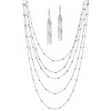 Related Item 2 Piece Multi-Chain Beaded Station Necklace and Drop Earrings Set in Silvertone 34