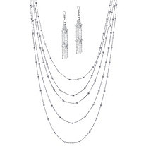 "2 Piece Multi-Chain Beaded Station Necklace and Drop Earrings Set in Silvertone 34""-38"""
