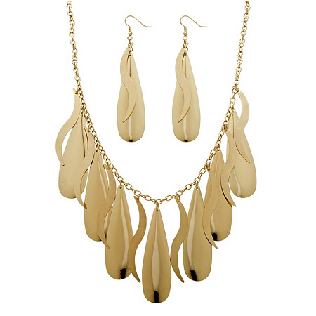 2 Piece Teardrop Necklace and Earrings Set in Yellow Gold Tone at PalmBeach Jewelry