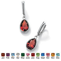 SETA JEWELRY Pear-Cut Birthstone Drop Earrings in Sterling Silver