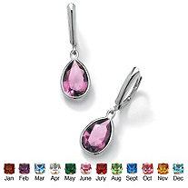 SETA JEWELRY Pear-Cut Birthstone Drop Earrings in Sterling Silver