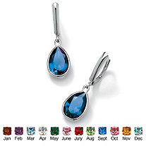 Pear-Cut Simulated Birthstone Drop Earrings in Sterling Silver