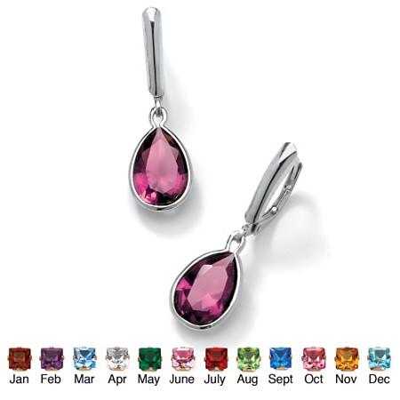 Pear-Cut Birthstone Drop Earrings in Sterling Silver at PalmBeach Jewelry