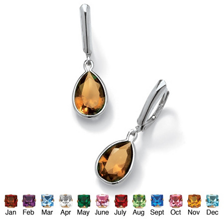 Pear-Cut Birthstone Drop Earrings in Sterling Silver at PalmBeach Jewelry