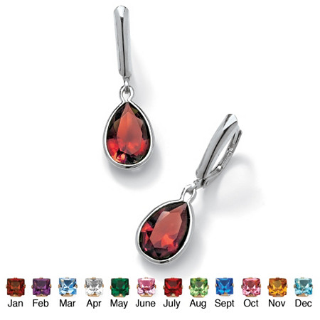 Pear-Cut Simulated Birthstone Drop Earrings in Sterling Silver at PalmBeach Jewelry
