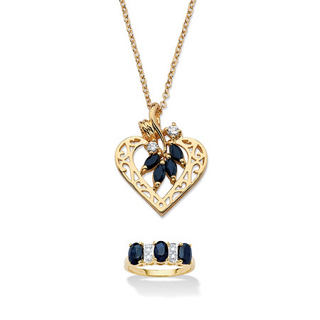 3.40 TCW Sapphire 18k Gold over Silver Ring and Gold Tone Heart Pendant Necklace Set at PalmBeach Jewelry