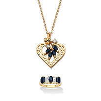 SETA JEWELRY 3.40 TCW Sapphire 18k Gold over Silver Ring and Gold Tone Heart Pendant Necklace Set