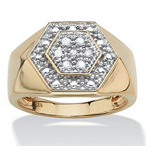 SETA JEWELRY Men's 1/10 TCW Round Diamond Hexagon Ring in 18k Gold over Sterling Silver