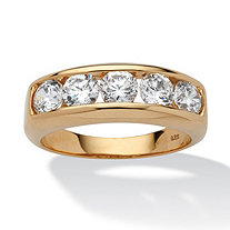 SETA JEWELRY Men's 2.50 TCW Round Cubic Zirconia Wedding Band in 18k Gold over Sterling Silver Sizes 8-16