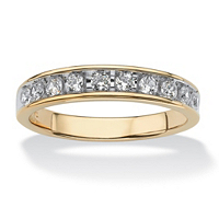 Men's .60 TCW Round Cubic Zirconia Wedding Ring In 18k Gold Over Sterling Silver ONLY $38.78