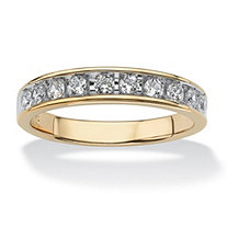 SETA JEWELRY Men's .60 TCW Round Cubic Zirconia Wedding Ring in 18k Gold over Sterling Silver