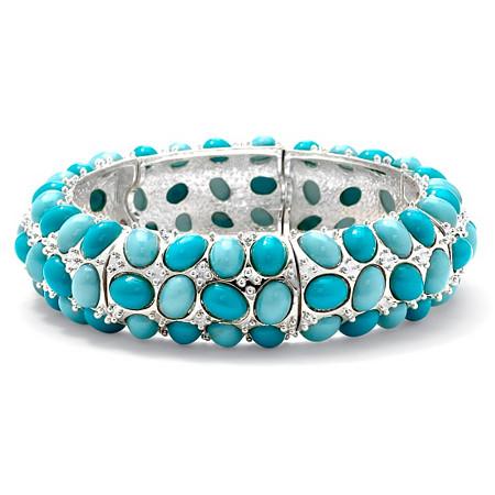 Oval-Shape Turquoise Silvertone Stretch Bracelet 9