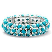 """Oval-Shape Turquoise Silvertone Stretch Bracelet 9"""""""