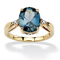 4.50 TCW Genuine London Blue Topaz & Diamond Accent Ring in 18k Gold over .925 Sterling Silver