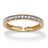 1/10 TCW Round Diamond Eternity Band in Solid 10k Yellow Gold