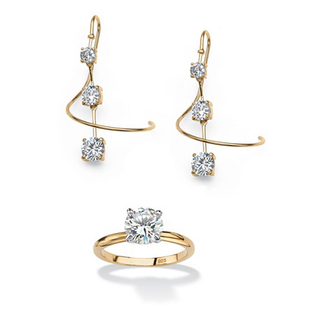 3.30 TCW Round Cubic Zirconia Spiral Drop Earrings in 18k Gold over Sterling Silver and FREE Ring at PalmBeach Jewelry