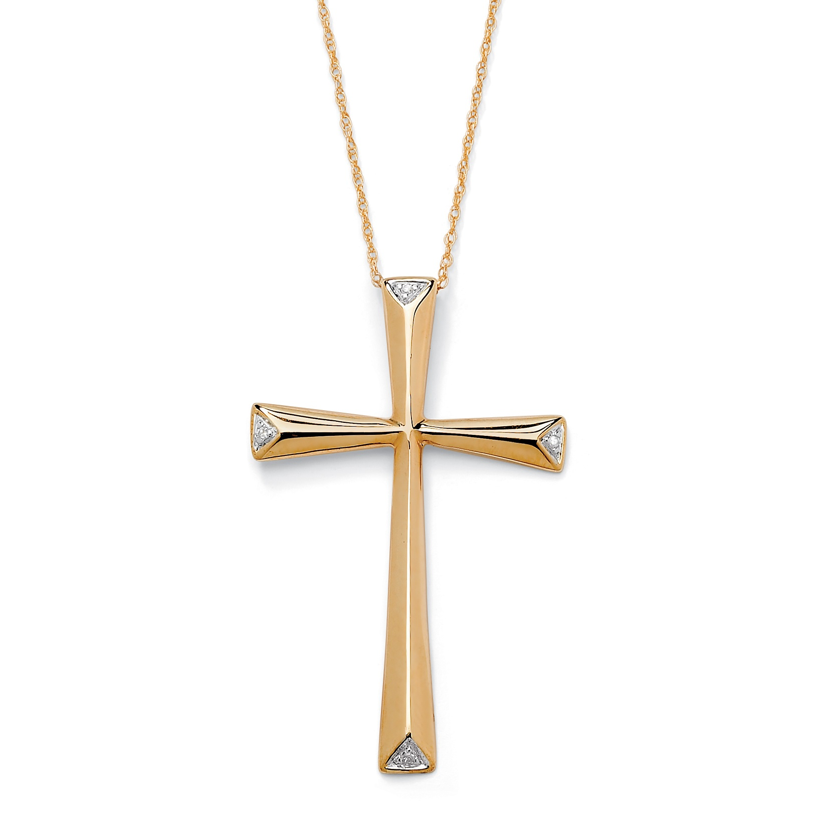 Diamond Accent Solid Cross Pendant And Rope Chain In 10k