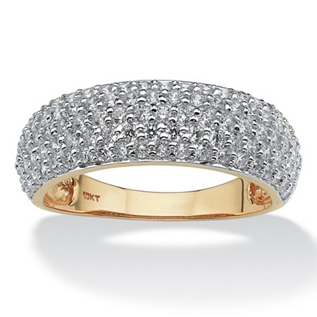 1 TCW Round Pave Cubic Zirconia 10k Yellow Gold Ring at PalmBeach Jewelry