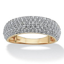 1 TCW Round Pave Cubic Zirconia 10k Yellow Gold Ring