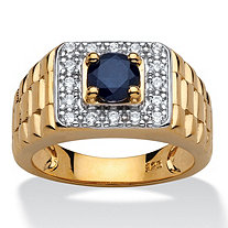 Men's 1.39 Carat Genuine Midnight Blue Sapphire 14k Gold over Sterling Silver Classic Ring