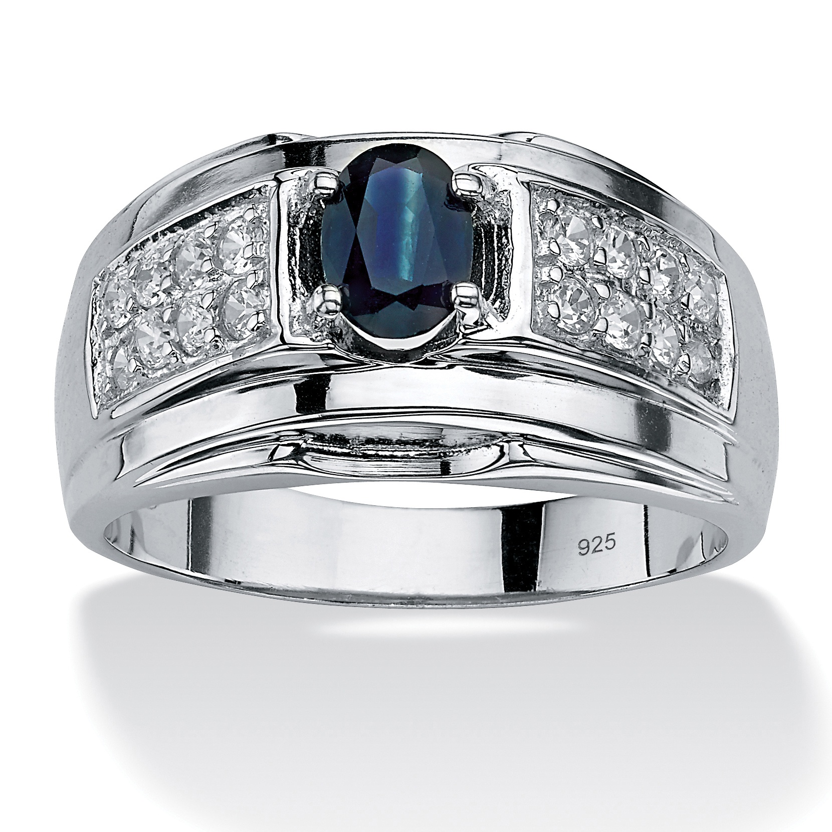 Men S 1 53 Tcw Oval Cut Genuine Midnight Blue Sapphire And