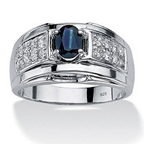 Men's 1.53 TCW Oval-Cut Genuine Midnight Blue Sapphire and Cubic Zirconia Ring in Sterling Silver