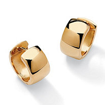 18k Gold over Sterling Silver Huggie-Style Hoop Lever-Back Earrings 5/8""