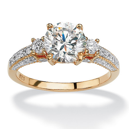 2.38 TCW Round Cubic Zirconia Engagement Anniversary Ring in 18k Gold over Sterling Silver at PalmBeach Jewelry