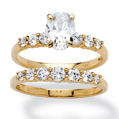 2 Piece 2 TCW Oval-Cut Cubic Zirconia Bridal Ring Set in 10k Gold at PalmBeach Jewelry
