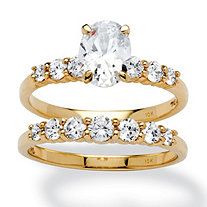 2 Piece 2 TCW Oval-Cut Cubic Zirconia Bridal Ring Set in 10k Gold