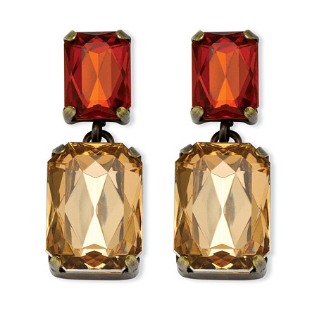 Champagne and Amber Crystal Drop Earrings in Antiqued Yellow Gold Tone at PalmBeach Jewelry