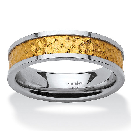 Two-Tone Gold Ion-Plated Inlay and Stainless Steel Hammered Wedding Band at PalmBeach Jewelry