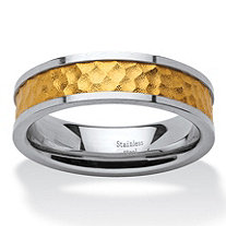 Two-Tone Gold Ion-Plated Inlay and Stainless Steel Hammered Wedding Band