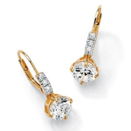 3.12 TCW Round Cubic Zirconia Drop Earrings in 14k Gold over Sterling Silver at PalmBeach Jewelry