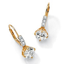 SETA JEWELRY 3.12 TCW Round Cubic Zirconia Drop Earrings in 14k Gold over Sterling Silver