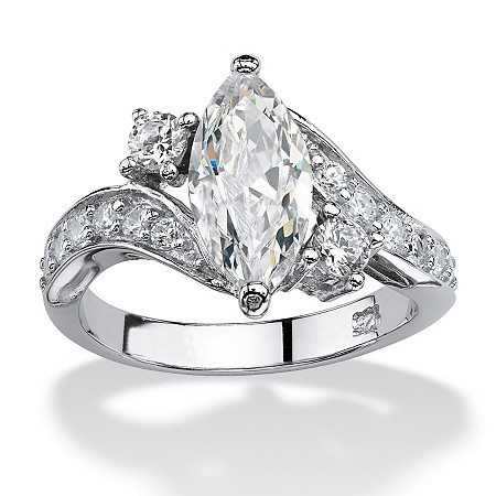 2.49 TCW Marquise-Cut Cubic Zirconia Engagement Anniversary Ring in Sterling Silver at PalmBeach Jewelry