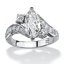 SETA JEWELRY 2.49 TCW Marquise-Cut Cubic Zirconia Engagement Anniversary Ring in Sterling Silver