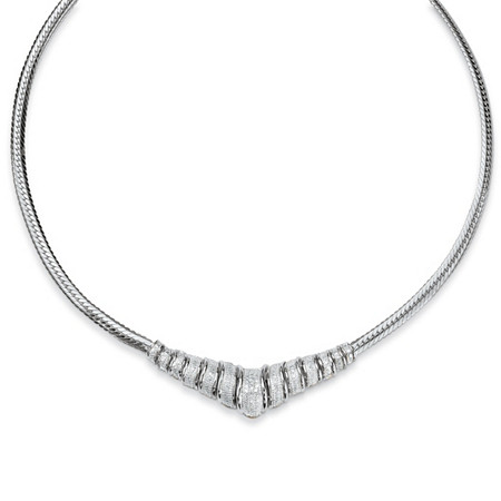 1/10 TCW Round Diamond Chevron and Snake-Link Necklace in Platinum over .925 Sterling Silver 20
