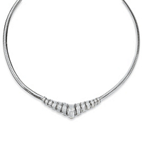 Round Diamond Chevron And Snake-Link Necklace In Platinum Over Silver ONLY $129