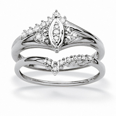 1/10 TCW Round Diamond Solid 10k White Gold Marquise-Shaped Bridal Engagement Ring Set at PalmBeach Jewelry